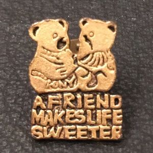 Vintage Kitsch Gold Vermeil Friendship Bear Pin